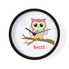 Custom name winter owl girl Wall Clock
