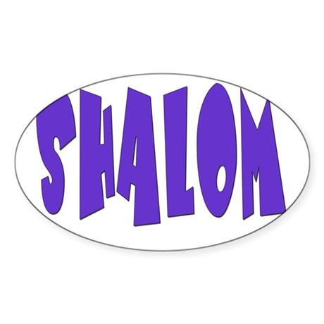 Hebrew Shalom Oval Sticker