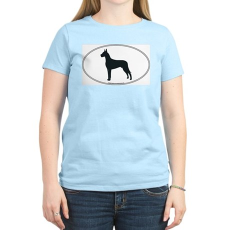 Great Dane Silhouette Women's Pink T-Shirt