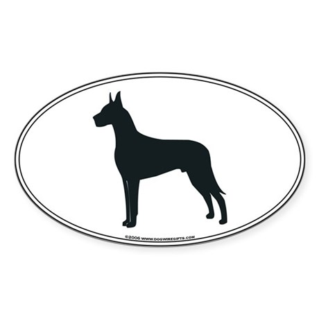 Great Dane Silhouette Oval Sticker