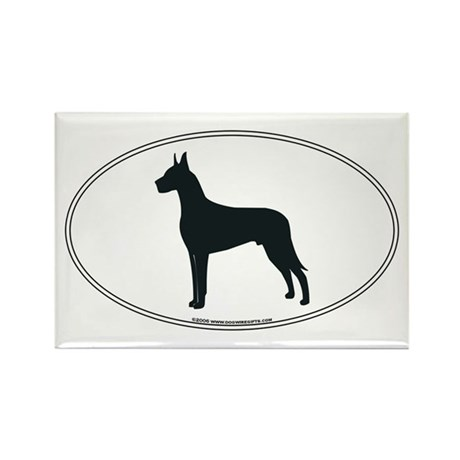 Great Dane Silhouette Rectangle Magnet