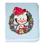 Christmas Penguin Holiday Wreath baby blanket