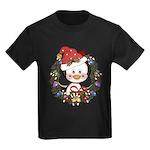 Christmas Penguin Holiday Wreath Kids Dark T-Shirt