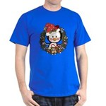 Christmas Penguin Holiday Wreath Dark T-Shirt