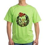 Christmas Penguin Holiday Wreath Green T-Shirt