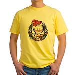 Christmas Penguin Holiday Wreath Yellow T-Shirt