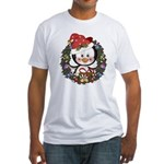Christmas Penguin Holiday Wreath Fitted T-Shirt