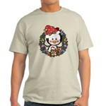 Christmas Penguin Holiday Wreath Light T-Shirt