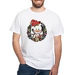 Christmas Penguin Holiday Wreath White T-Shirt