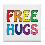 Free Hugs Tile Coaster
