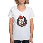 Christmas Penguin Holiday Wreath Women's V-Neck T-