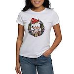 Christmas Penguin Holiday Wreath Women's T-Shirt