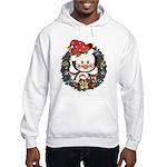 Christmas Penguin Holiday Wreath Hooded Sweatshirt