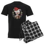 Christmas Penguin Holiday Wreath Men's Dark Pajama
