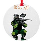 BOO YA Paintballer Round Ornament
