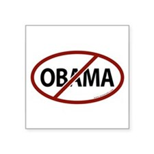 No Obama White Bumper Oval Sticker