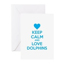 Keep calm and love dolphins Greeting Cards (Pk of