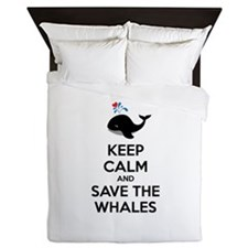Keep calm and save the whales Queen Duvet