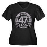 Member 47 Percent Women's Plus Size V-Neck Dark T-