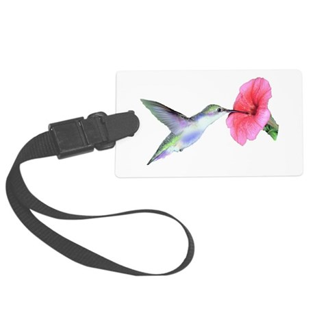 Hummingbird on hibiscus Large Luggage Tag