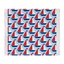Red White Blue Sail Boats Throw Blanket