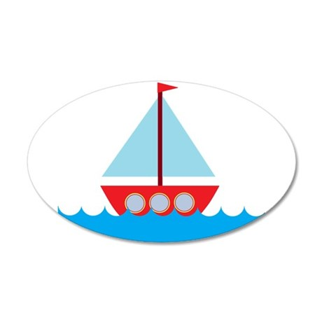 Red Sailboat in Water 20x12 Oval Wall Decal