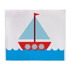 Red Sailboat in Water Throw Blanket