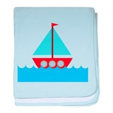 Red Sailboat in Water baby blanket
