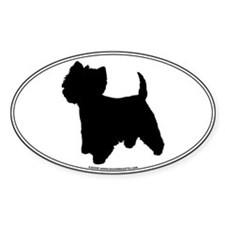 Westie Silhouette Oval Decal