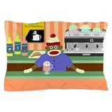 Sock Monkey Coffee Shop Pillow Case