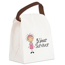 5 Yr Survivor Breast Cancer Canvas Lunch Bag