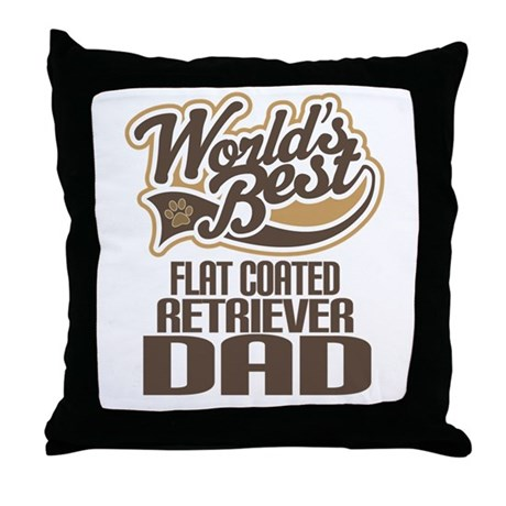 Flat Coated Retriever Dad Throw Pillow