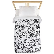 Black and white tribal swirls Twin Duvet