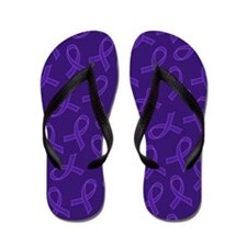 Alzheimers Disease Purple Ribbon Support Flip Flop