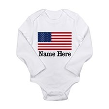 Personalized American Flag Long Sleeve Infant Body
