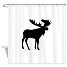 Black Moose Shower Curtain
