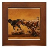 Salukis Running Framed Tile
