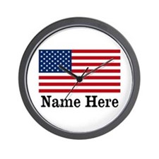 Personalized American Flag Wall Clock