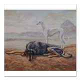 "Saluki in the Desert Square Car Magnet 3"" x 3"""