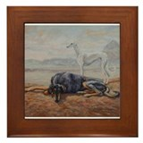 Saluki in the Desert Framed Tile