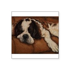 "Saint Bernard Sleeping Square Sticker 3"" x 3"""