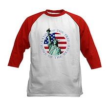 American flag Statue Liberty Kids Baseball Tee