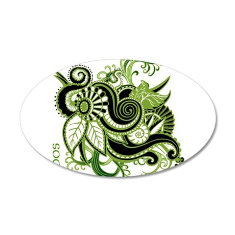OYOOS Green Flower design 20x12 Oval Wall Decal