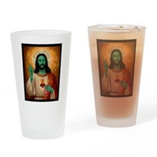 Zombie Jesus Loves Brains Drinking Glass