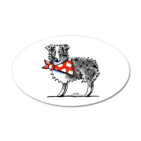 Blue Merle Aussie 20x12 Oval Wall Decal