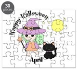 Custom name Halloween witch Puzzle