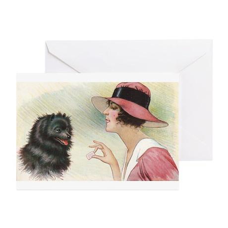Pomeranian Dog Woman Greeting Cards (Pk of 10)