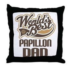 Papillon Dad Throw Pillow