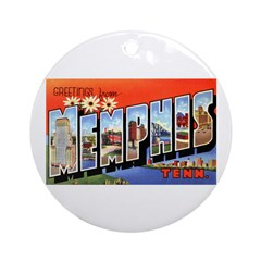 Memphis Tennessee Greetings Ornament (Round)