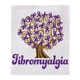 Fibromyalgia Purple Ribbon Tree Throw Blanket